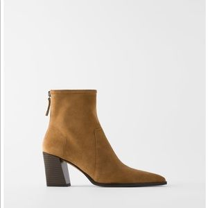 Zara soft split leather heeled ankle boots